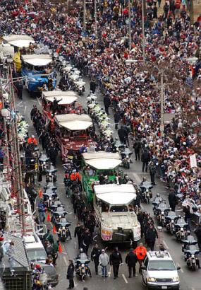 Duck boats on parade