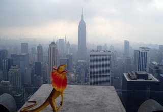 Top of The Rock: Larry looks out at the Empire State Building